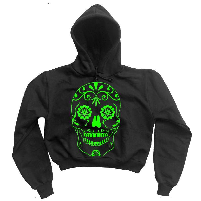 Moletom Cropped Caveira Mexicana Verde  - HShop