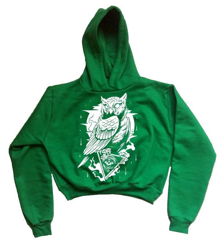 Moletom Cropped Coruja Verde  - HShop