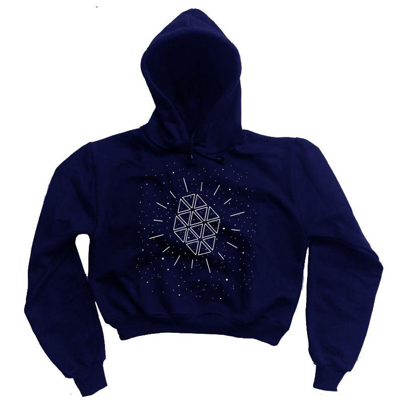 Moletom Cropped Galáxia - Azul Marinho  - HShop