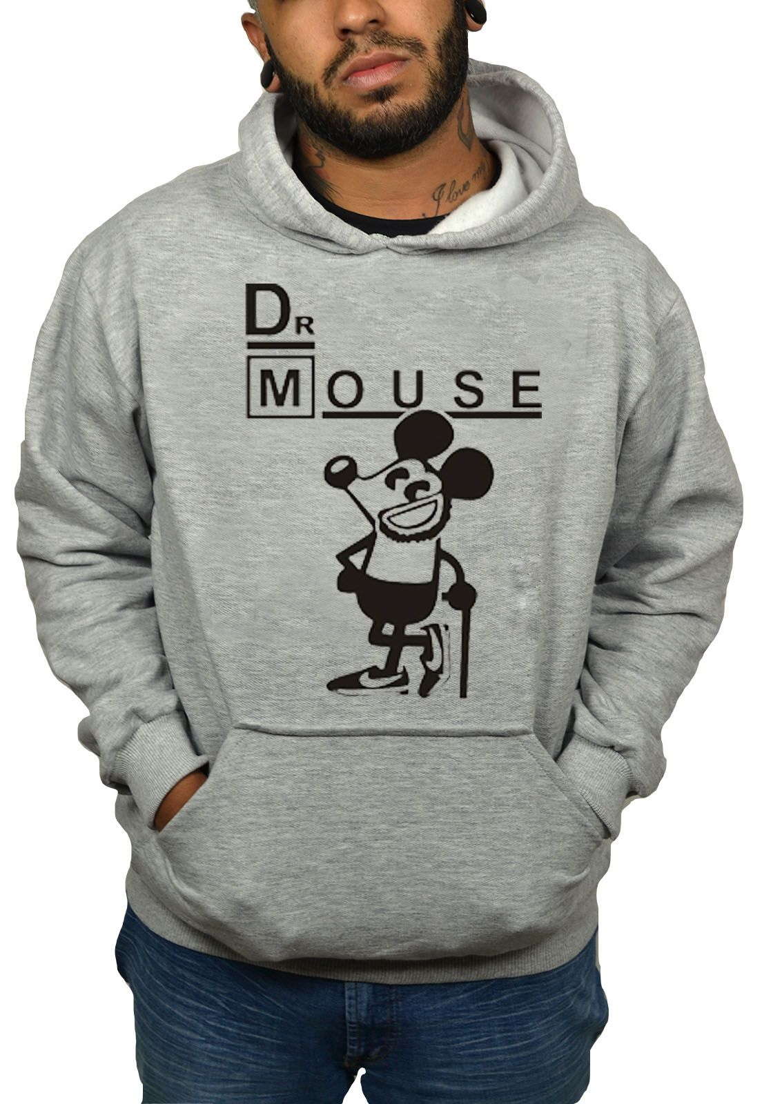 Moletom HShop Dr Mouse Cinza Mescla  - HShop
