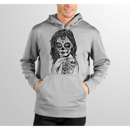 Moletom HShop Skull Girl - Cinza Mescla  - HShop
