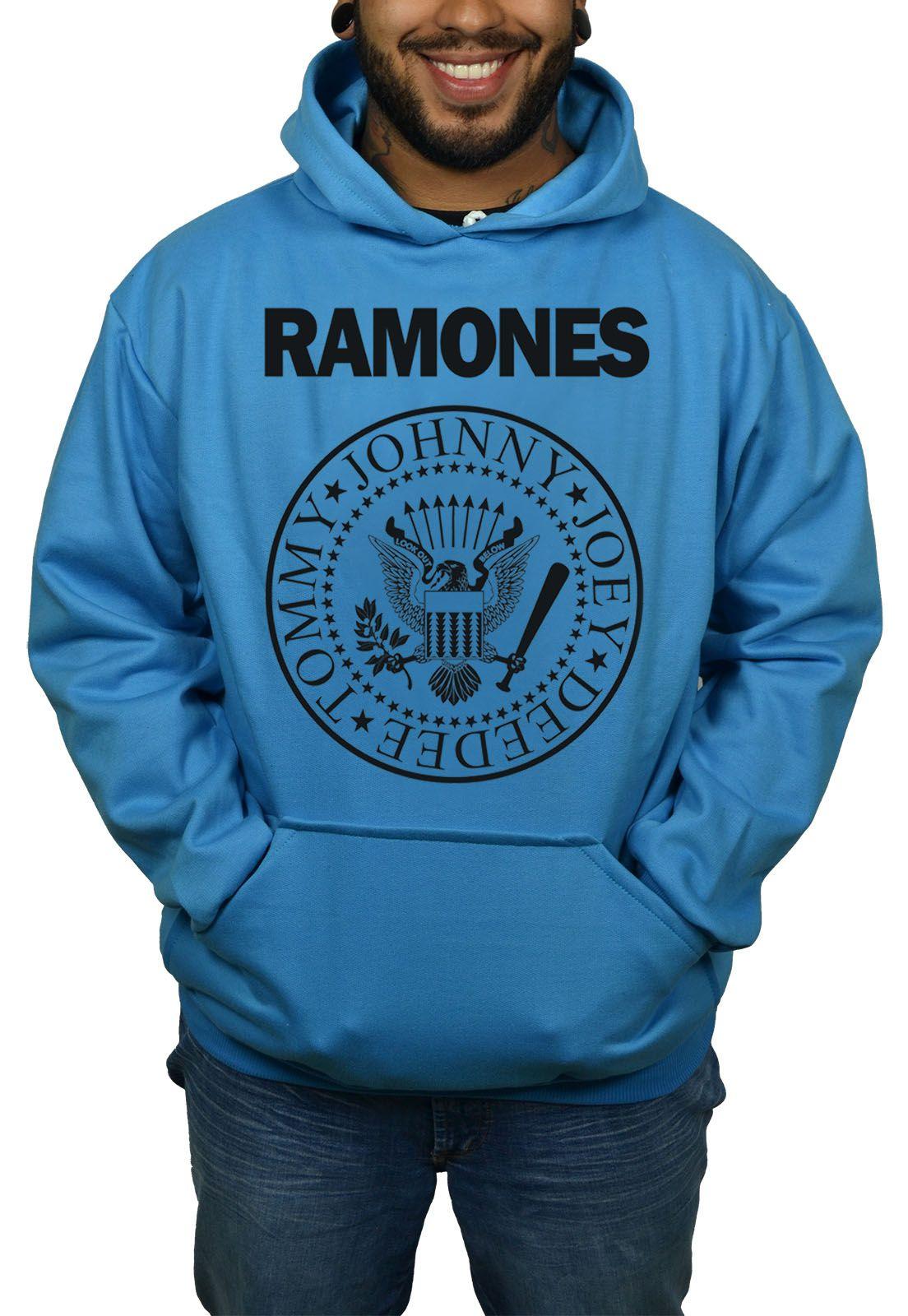 Moletom Ramones  Logo Azul Turquesa  - HShop