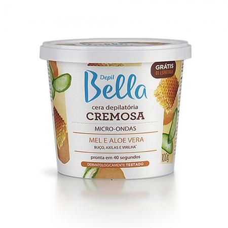 Cera Depilatória Cremosa Micro-Ondas Mel com Aloe Vera 100g Depil Bella