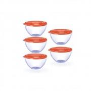 Conjunto de 5 Bowls Potes Tigela 900ml Tampa Laranja-Rosada