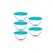 Conjunto de 5 Bowls Potes Tigela de 900ml com Tampa Azul