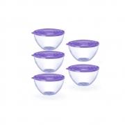 Conjunto de 5 Bowls Potes Tigela de 900ml com Tampa Lilás