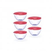 Conjunto de 5 Bowls Potes Tigela de 900ml com Tampa Rosa
