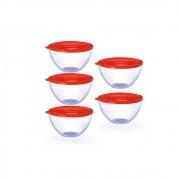 Conjunto de 5 Bowls Potes Tigela de 900ml com Tampa Vermelha