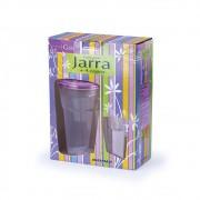Conjunto Jarra 1,5L com 4 Copos de 450ml com Tampa Lilás