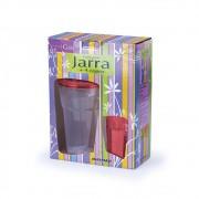Conjunto Jarra 1,5L com 4 Copos de 450ml Vermelho