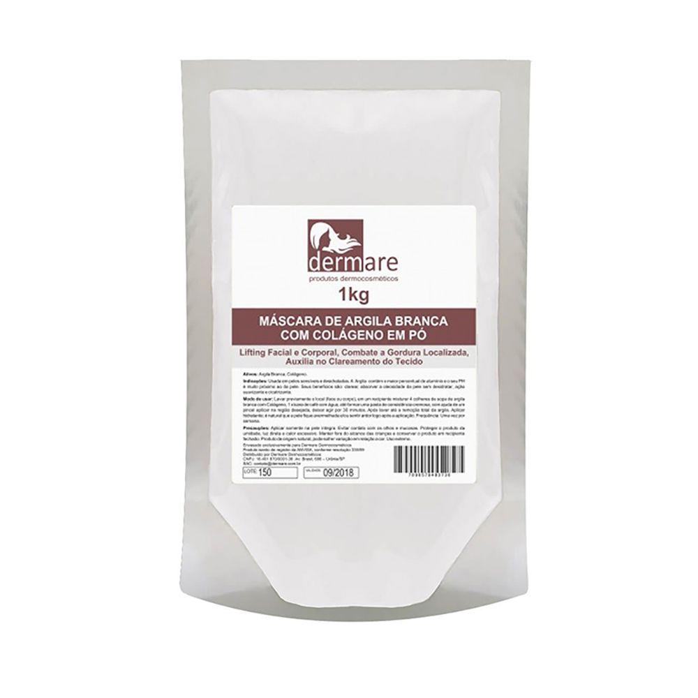 Argila Branca Com Colágeno 1kg Dermare