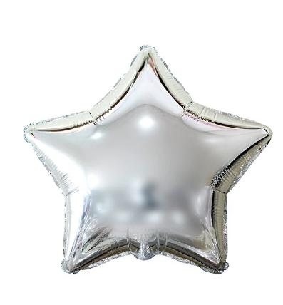 Balão Metalizado Estrela Prata 25cm