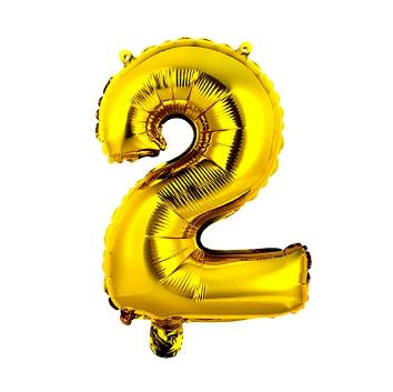 Balão Metalizado Número 2 Dourado 40cm