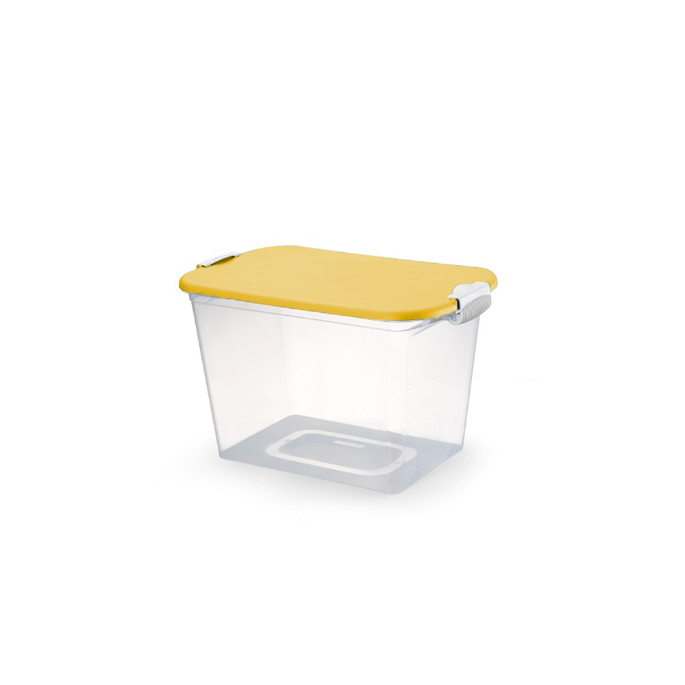 Caixa Organizadora Multiuso 30 Litros com Tampa Amarela