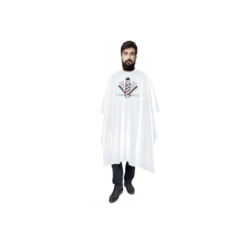Capa Em Cetim Branca Com Impressão Tesoura/Navalhete Para Barbeiro Santa Clara