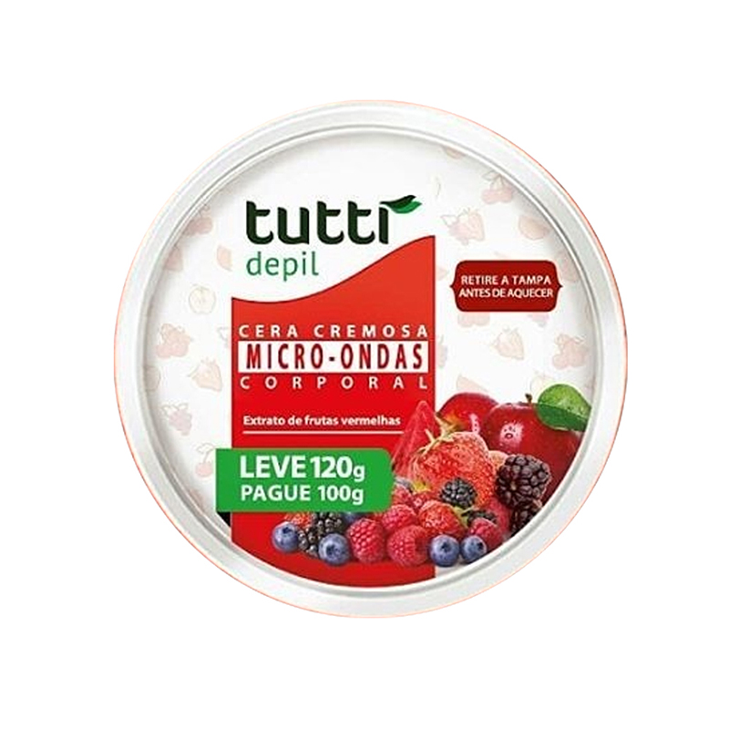 Cera Microondas Frutas Vermelhas 120g Tutti Depil