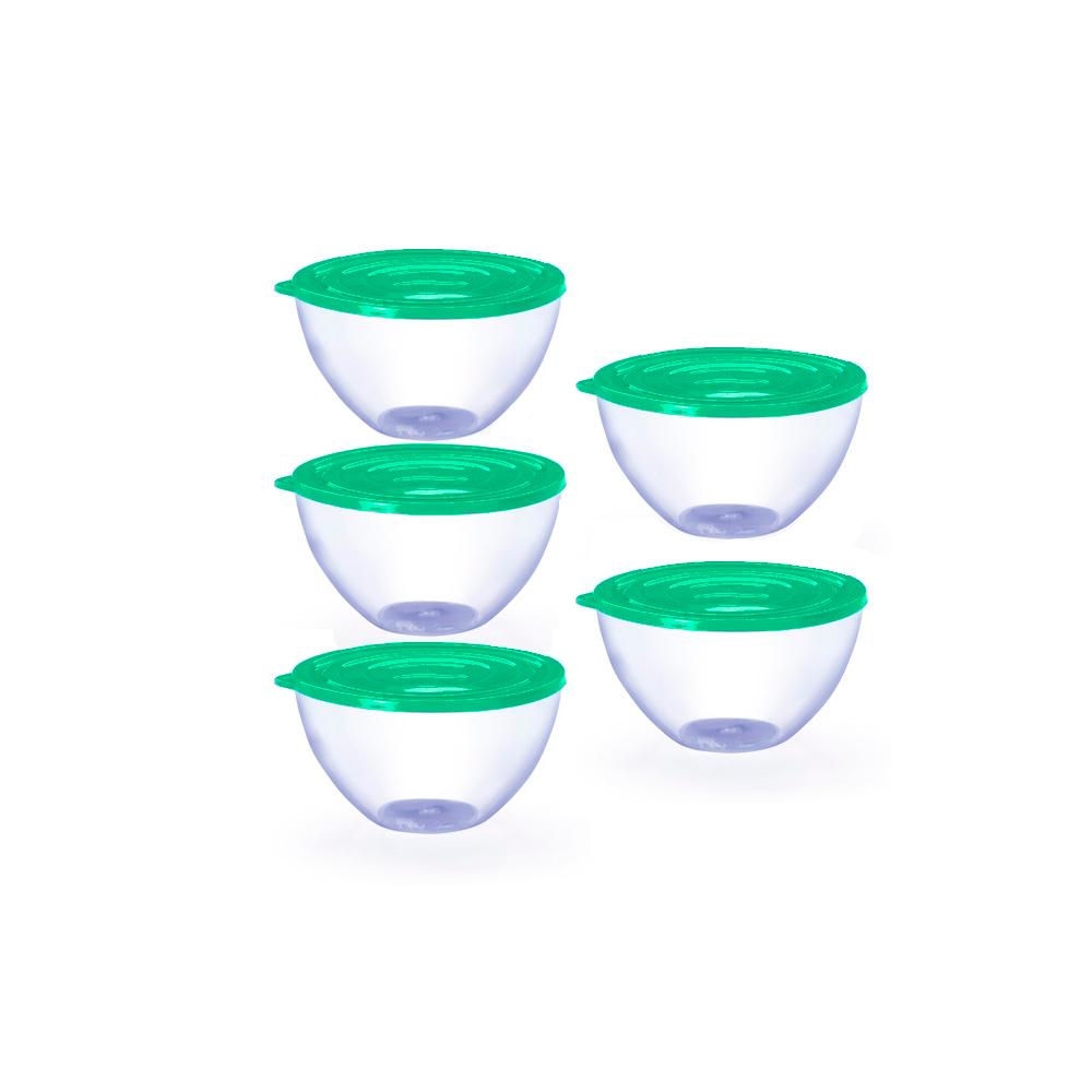 Conjunto de 5 Bowls Potes Tigela de 900ml com Tampa Verde