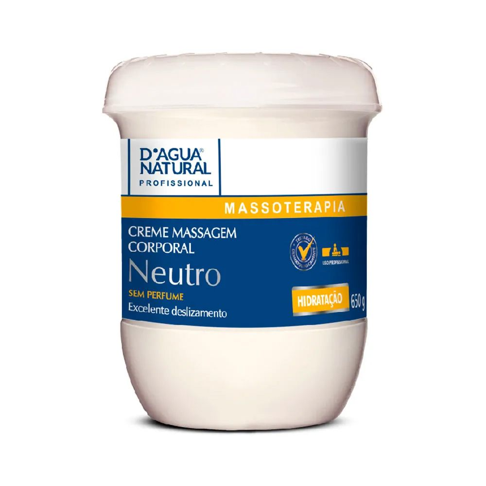 Creme De Massagem Neutro Massoterapia 650g D'Agua Natural