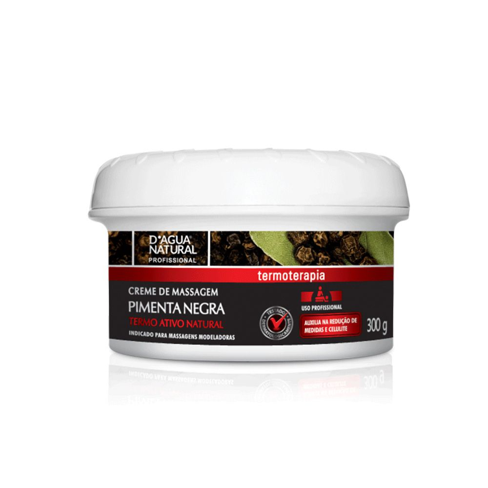 Creme De Massagem Pimenta Negra Termoterapia 300g D'Agua Natural
