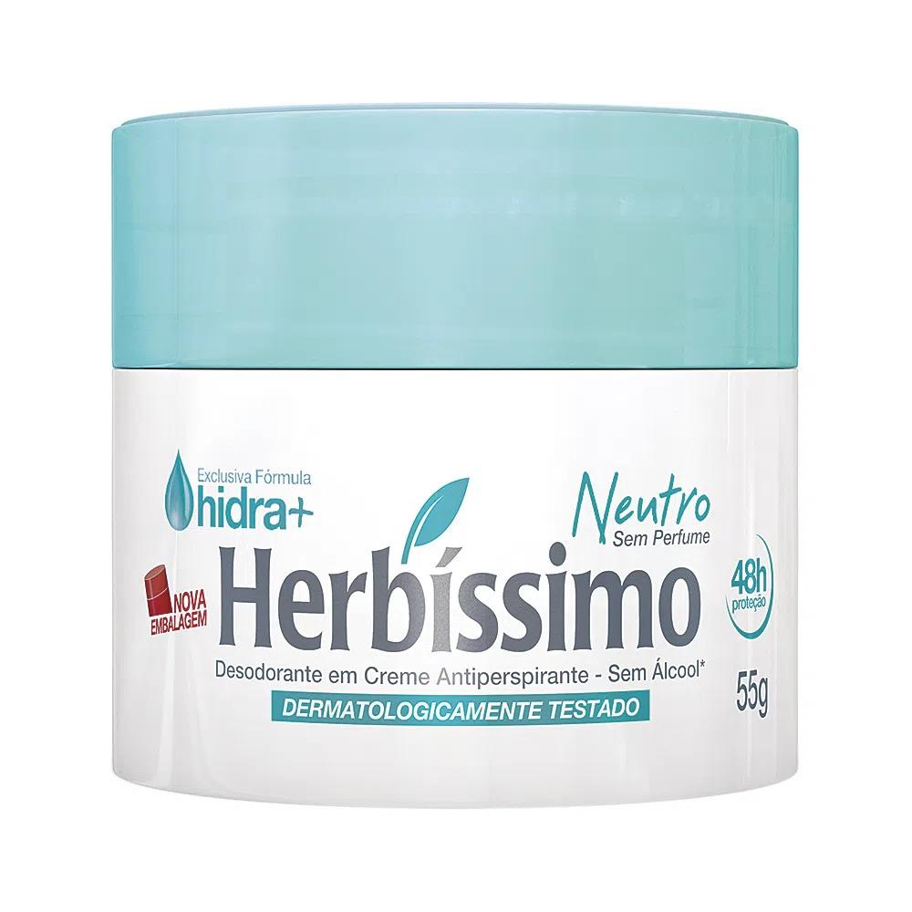 Creme Desodorante Antitranspirante Sem Perfume 55g Herbíssimo