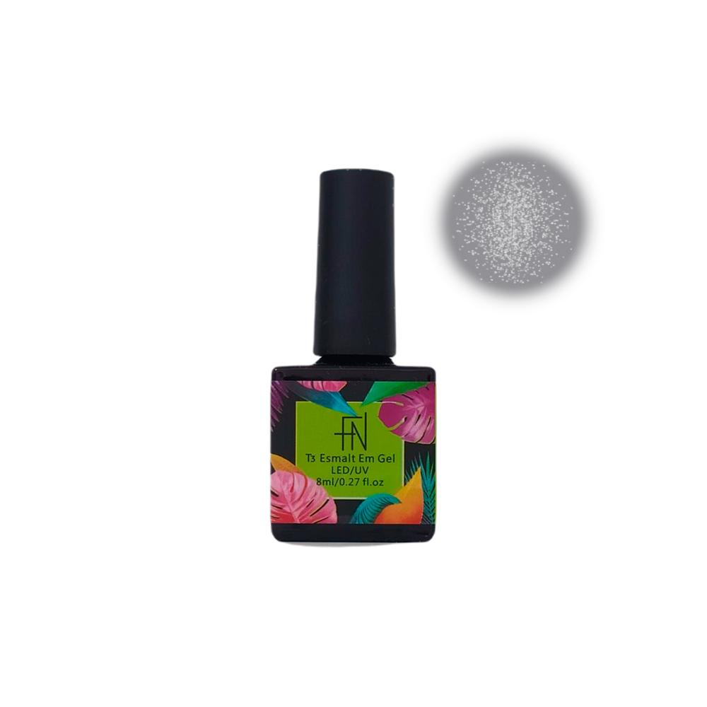 Esmalte em Gel T3 LED UV 8ml Cinza Glitter 032 Fannails