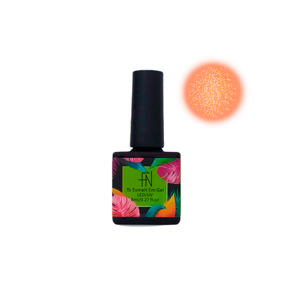 Esmalte em Gel T3 LED UV 8ml Laranja Glitter 038 Fannails