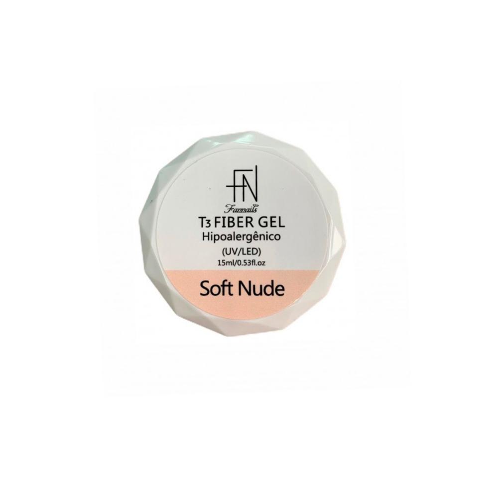 Gel T3 Fiber Gel Hipoalergênico UV LED Soft Nude 15ml