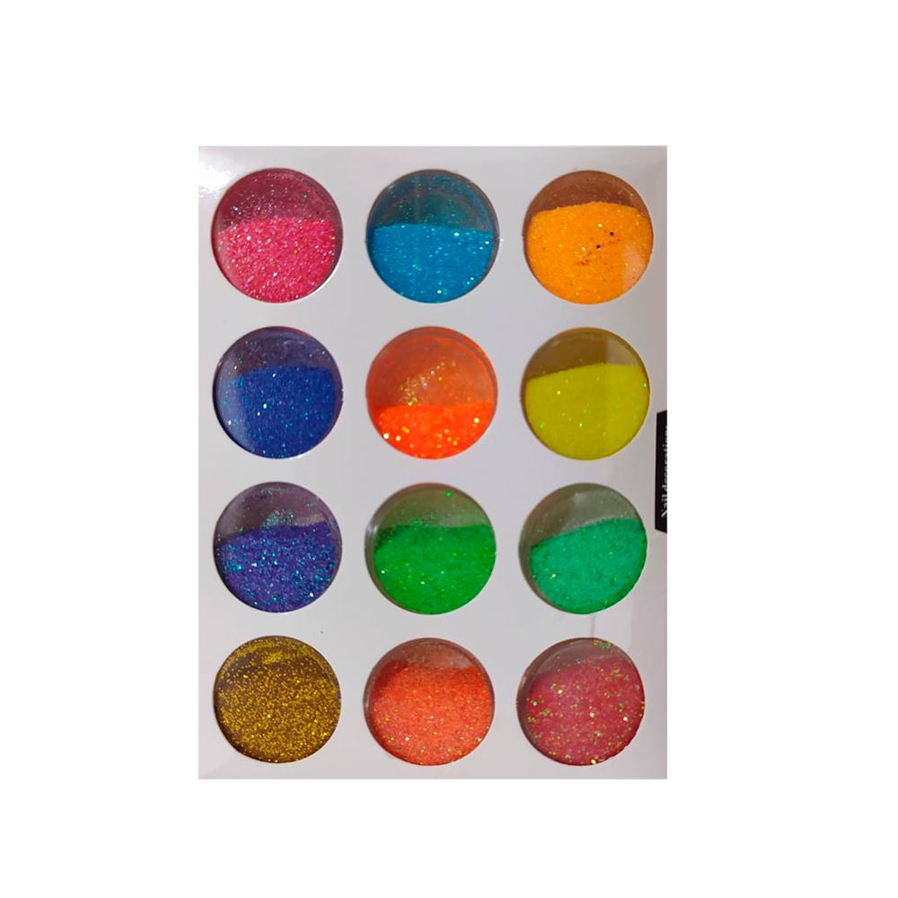 Glitter em Pó Colorido para Decorar Unhas 12 Unidades