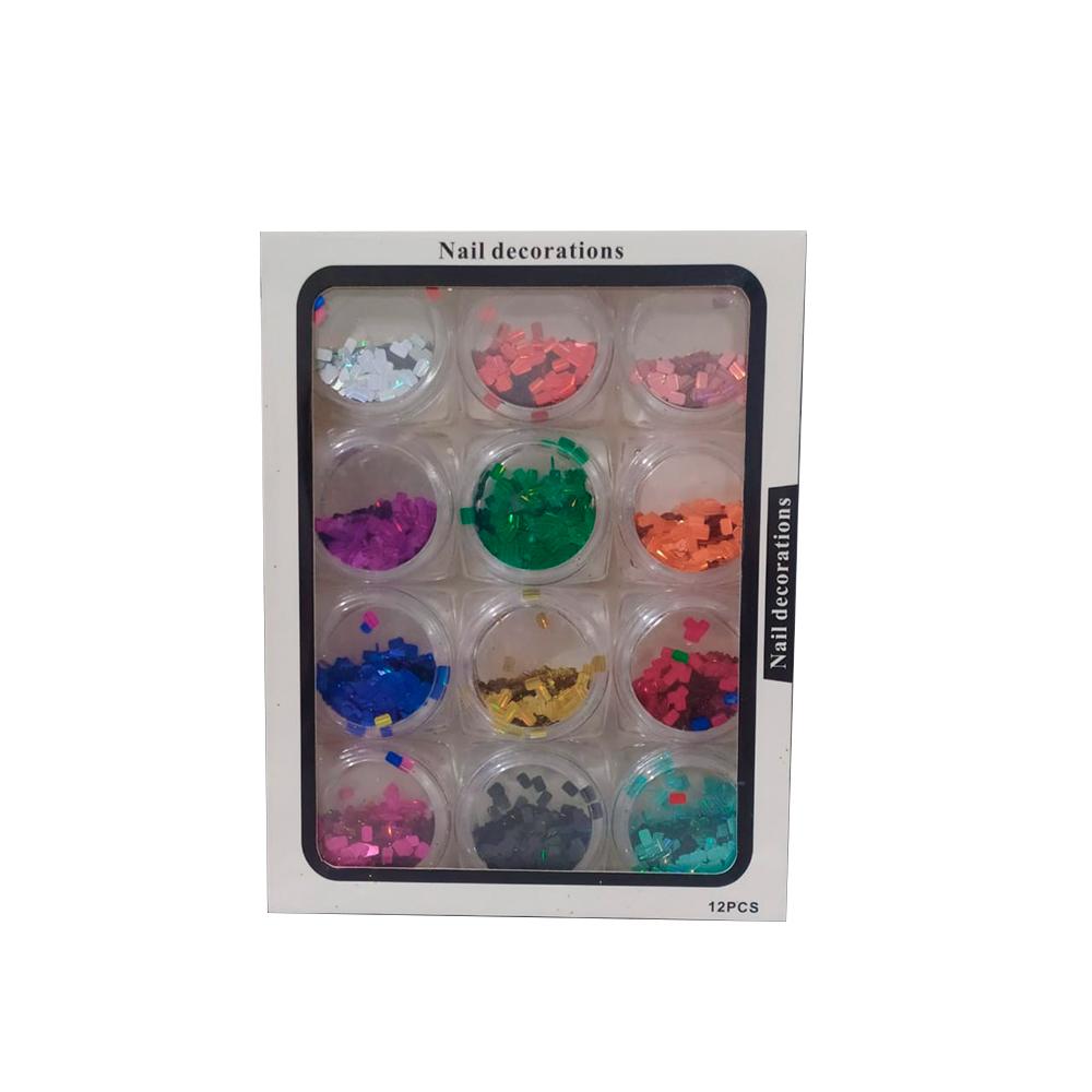 Glitter Flocado Colorido para Unhas 12 Unidades