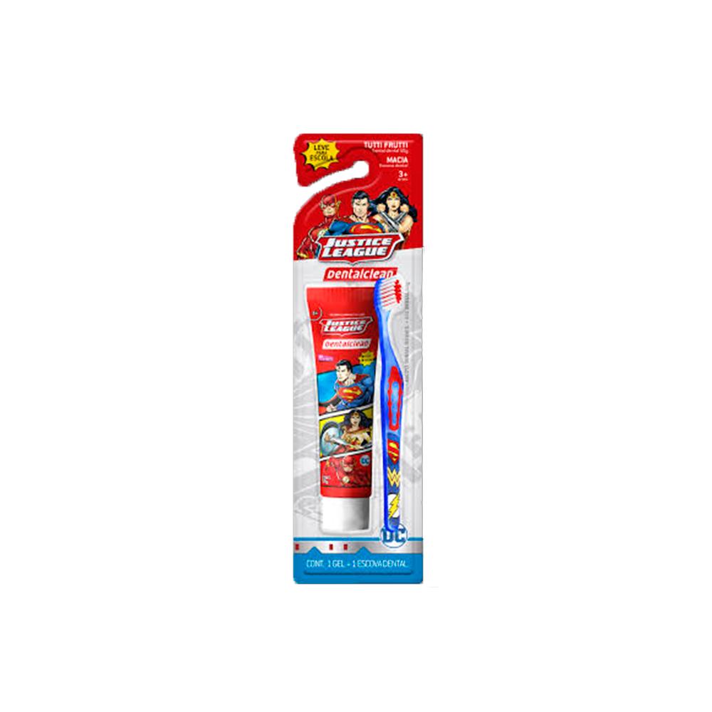 Higiene Bucal Escova + Creme Dental Liga da Justiça Dentalclean