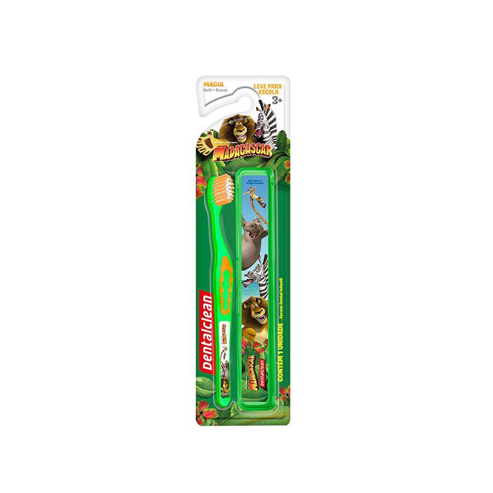 Kit Escolar Escova de Dente + Estojo Madagascar