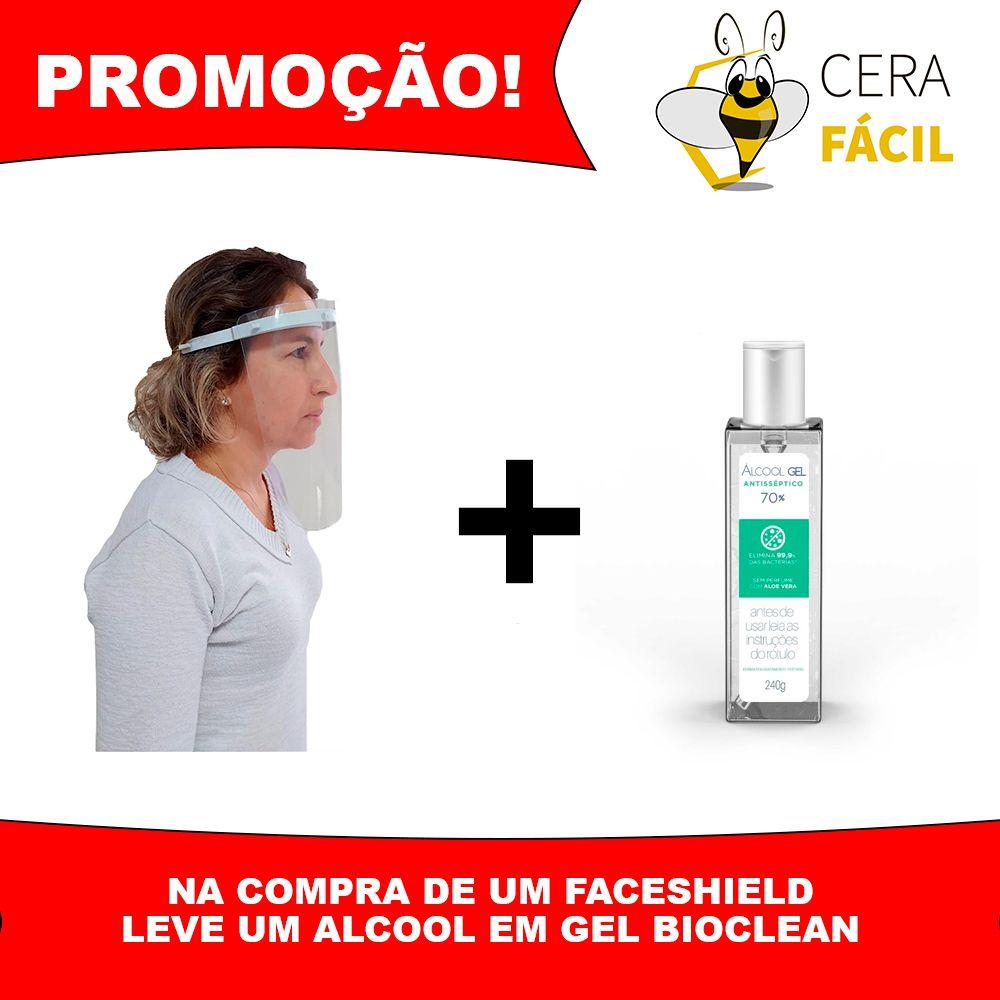 Kit Máscara Facial Protetora Face Shield Grátis Álcool Gel