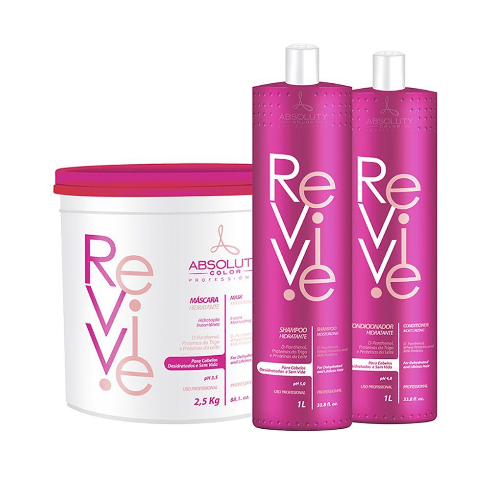 Kit Revive Profissional Shampoo 1L + Cond 1L + Máscara 2,5kg Absoluty Color