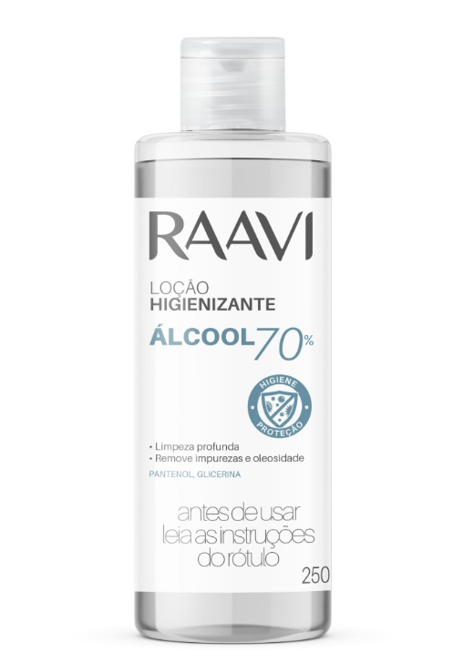 Loção Hidratante Alcool 70% 250ml Raavi