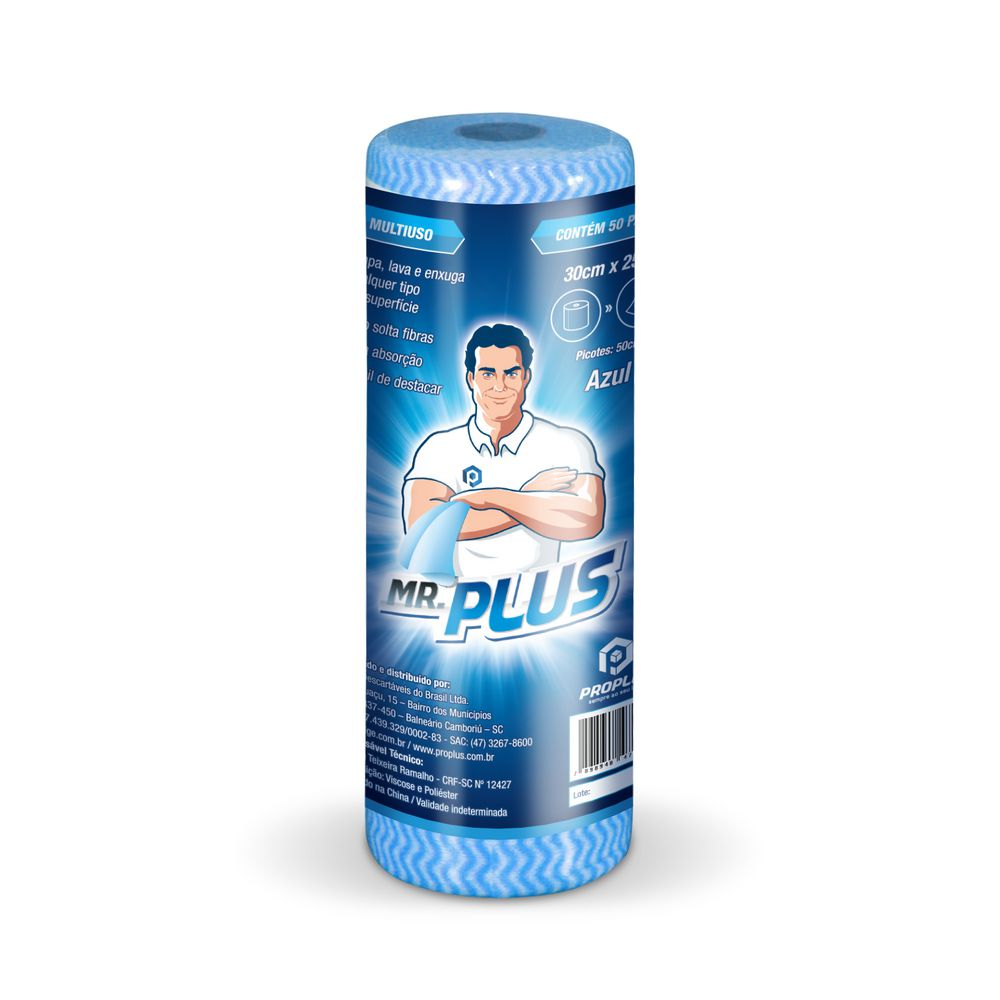 Pano Multiuso Mr. Plus 30cmx25m Azul Talge
