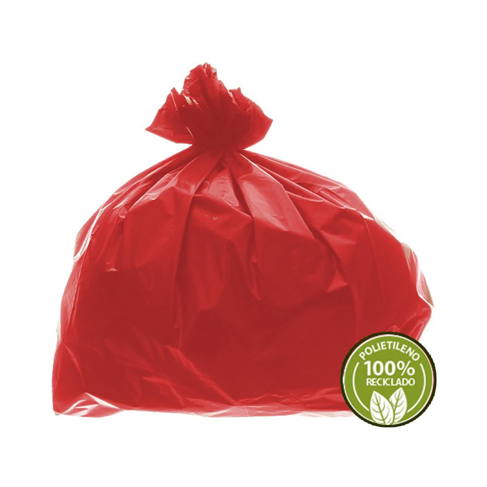 Saco de Lixo 0,025mm 100L Vermelho 100un