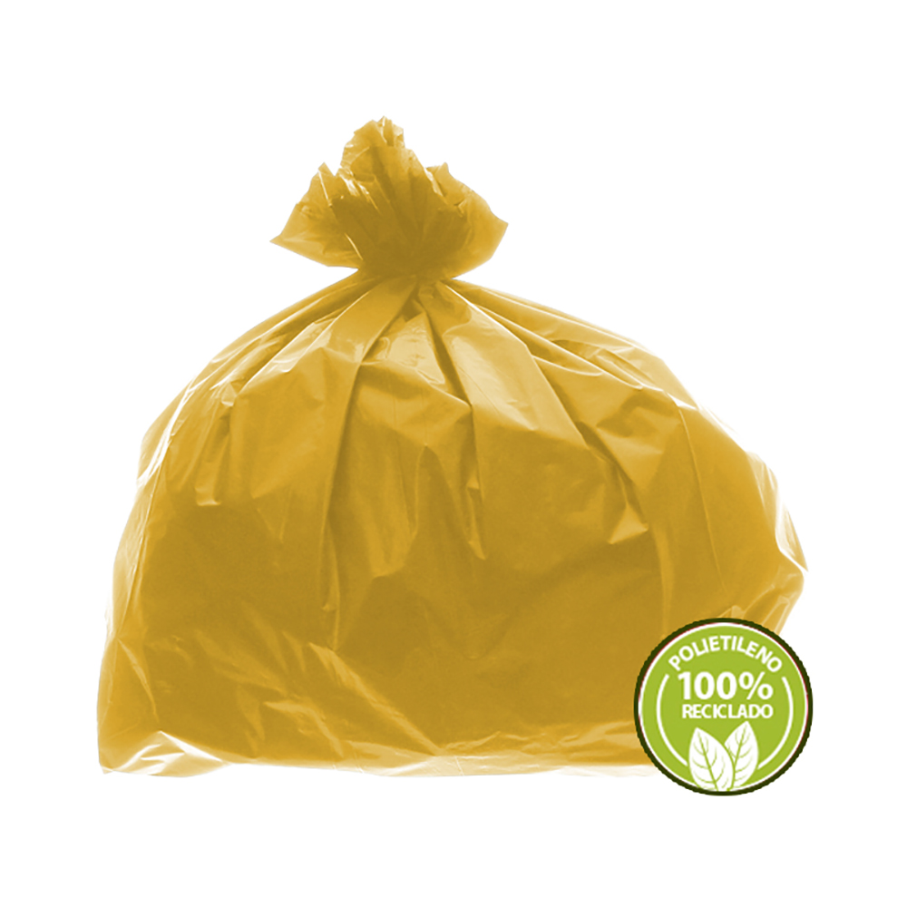 Saco de Lixo 0,025mm 60 Litros Amarelo 100un