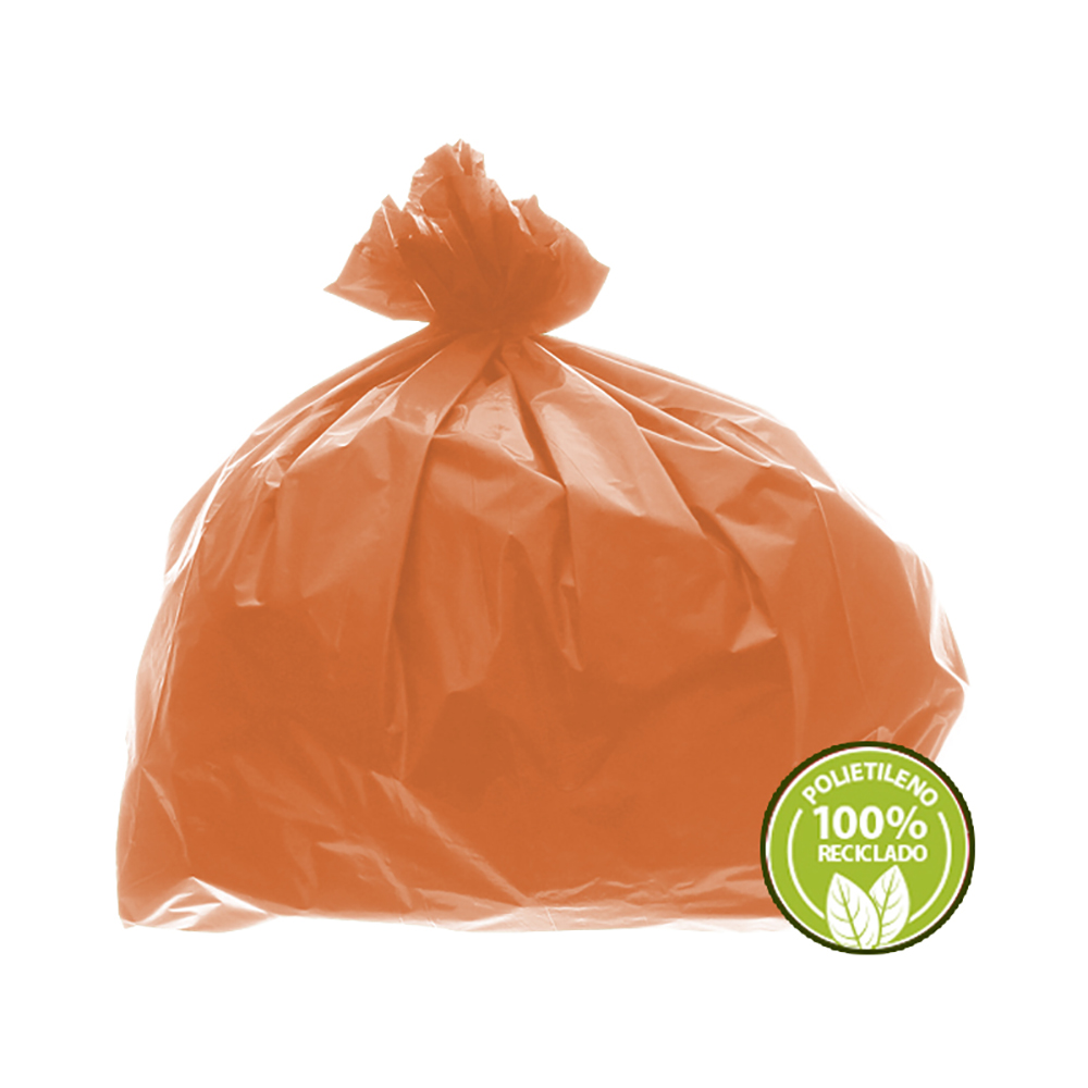Saco de Lixo 0,025mm 60 Litros Laranja 100un