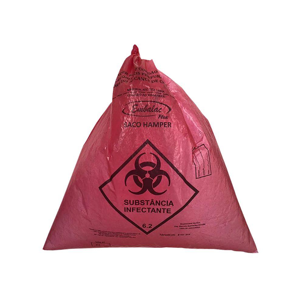 Saco De Lixo Hamper 110L Vermelho 0,040mm 50un EmbalacFlex