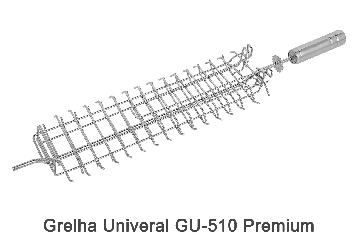 Espeto Tridente ET-510 Premium + Pá de Limpeza PL-1 Inox + Pega Fácil PF-40 Inox + Grelha Universal GU-510 Premium