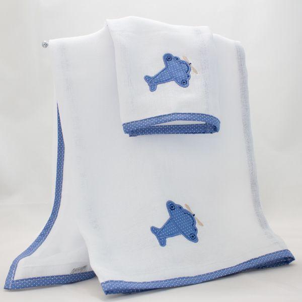 Cj Fralda/Babinha 2pçs - Coleção Terk Azul - Art Bord