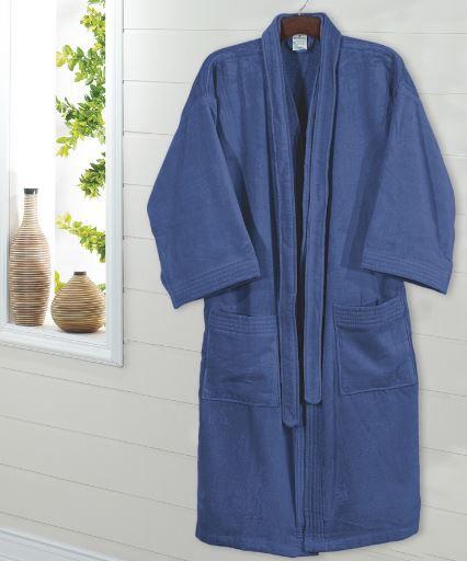 Roupão de Banho Adulto Unissex Velour - Azul Jeans- Dohler