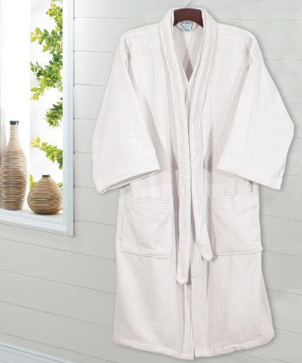 Roupão de Banho Adulto Unissex Velour - Branco - Dohler