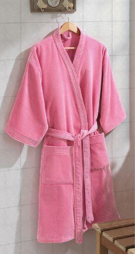 Roupão de Banho Adulto Unissex Velour - Rosa - Dohler