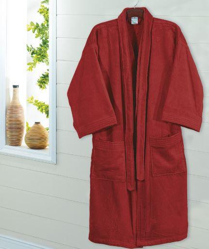 Roupão de Banho Adulto Unissex Velour - Vermelho - Dohler
