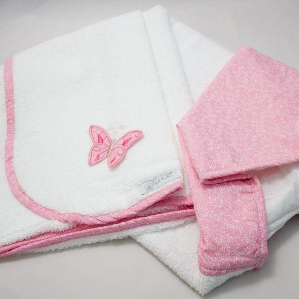Toalha Capuz  Revestida de Fralda -  Rosa - Coleção Perla