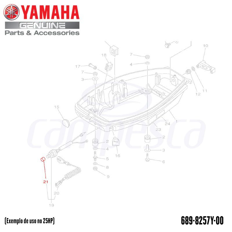 Capa do Interruptor de Parada - Yamaha (689-8257Y-00-00)