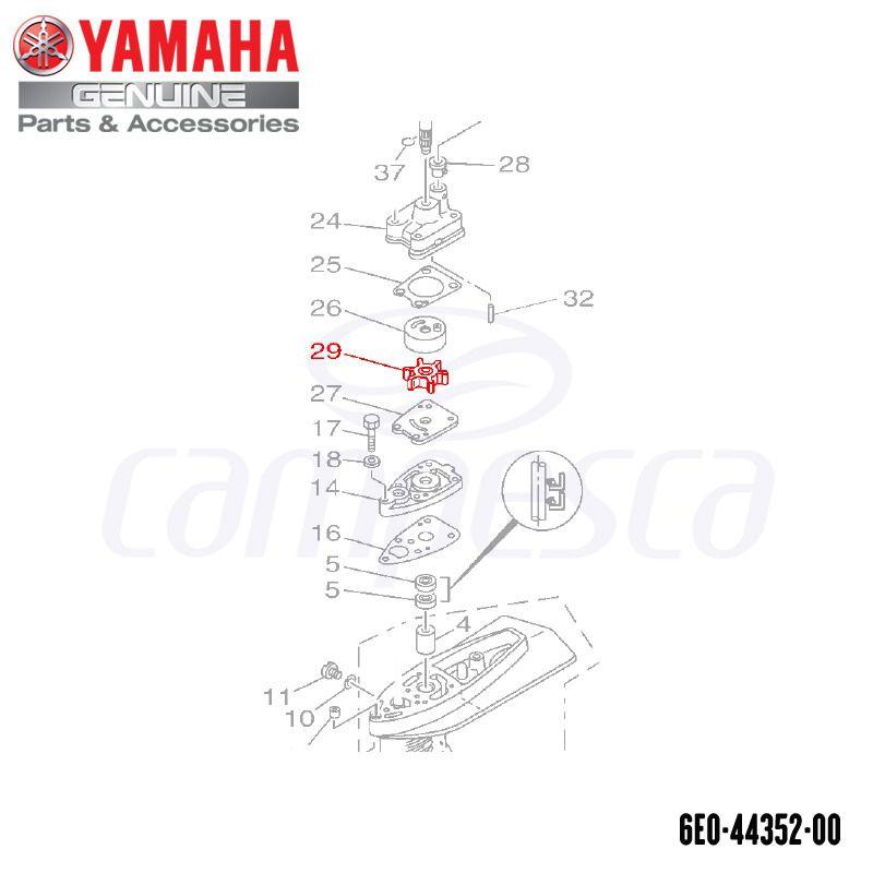 Impulsor da Bomba D'água 4HP (Rotor) - Yamaha (6E0-44352-00)