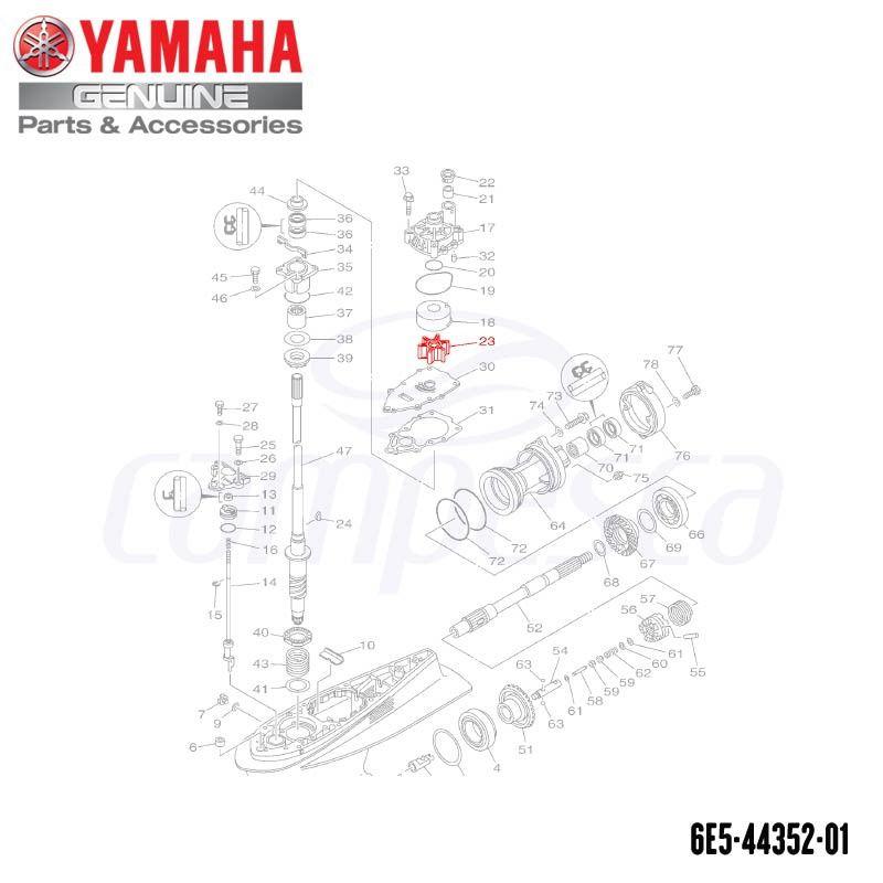 Impulsor da Bomba D'água (Rotor) - Yamaha (6E5-44352-01)