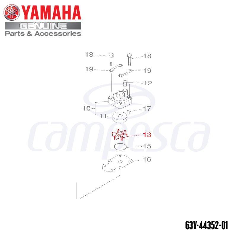Impulsor da Bomba D'água (Rotor) - Yamaha (63V-44352-01)
